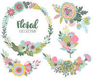 Vector graphic set with beautiful flowers, floral wreath, bouquets Royalty Free Stock Image