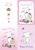 Vector graphic set with cat Stock Images
