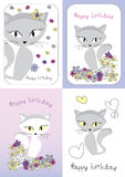 Vector graphic set with cat Royalty Free Stock Images