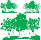 Vector graphic set deciduous trees on landscapes. Royalty Free Stock Image