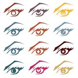 Symbol in the Eyes Vector Graphic Set. Vector graphic set of a female eyes with different and familiar shapes for pupils Stock Images
