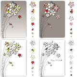 Vector graphic set with flowers drawing Stock Photos
