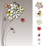 Vector graphic set with flowers drawing Royalty Free Stock Photos
