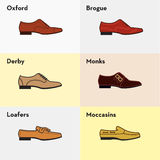 Vector graphic set icons of flat classical men's shoes. Stock Images