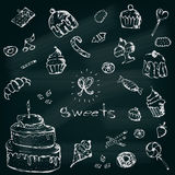 Vector graphic set of sweets. Decorative hand drawn delicios col Stock Photography