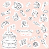 Vector graphic set of sweets. Decorative hand drawn pink delicios collection. Stock Image