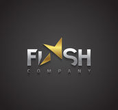 Vector graphic silver and gold Flash sign with lightning symbol Stock Photo