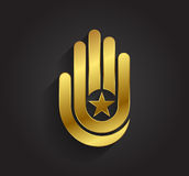 Vector graphic stylized hand and star symbol with sample text for your company Stock Photography