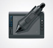 Vector graphic tablet icon. Detailed icon representing graphic tablet and pen royalty free illustration