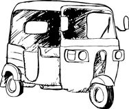 Vector graphic of a traditional taxi in Indonesia known as Bajaj. Or Bajai Stock Images