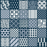 Vector graphic vintage textures created with squares, rhombuses. And other geometric shapes. Monochrome seamless patterns collection best for use in textiles Royalty Free Stock Photo