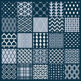 Vector graphic vintage textures created with squares, rhombuses. And other geometric shapes. Monochrome seamless patterns collection best for use in textiles Royalty Free Stock Photos