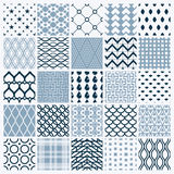 Vector graphic vintage textures created with squares, rhombuses. And other geometric shapes. Monochrome seamless patterns collection best for use in textiles Stock Image