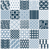 Vector graphic vintage textures created with squares, rhombuses. And other geometric shapes. Monochrome seamless patterns collection best for use in textiles Stock Photography