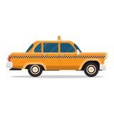 Vector graphic yellow retro Taxi cab on white Stock Photo
