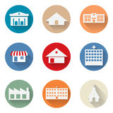 Vector of graphical urban building flat design icon Stock Images