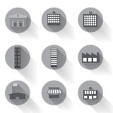 Vector of graphical urban building flat icon design. Llustrator EPS10 Royalty Free Stock Photography