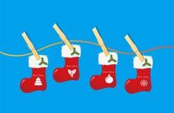 Vector graphics, Christmas socks, wood clip Royalty Free Stock Photos