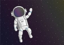 Astronaut floating in the outer space stock illustration