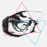 Vector graphics, illustration for print on t-shirt, Eye sketch, grunge, triangles tattoo Stock Photos