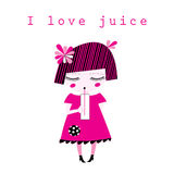 Vector graphics of a little girl drinking juice. On a white background Stock Images