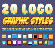 Vector Graphics Styles. 20 Comic Logo Graphics Styles - apply using graphic styles panel to shapes or text Stock Photo