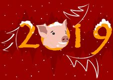 The year of the pig 2019 new year royalty free illustration