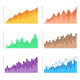 Vector graphs, charts with flat elements. Infographic for business presentation illustration. Colorful bar charts. Thin line vector graphs, charts with flat Royalty Free Stock Photos