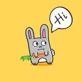Vector grappig beeldverhaalkonijntje met wortel Stock Foto