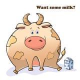 Vector grappig dier Dikke leuke koe met een doos melk Prentbriefkaar met een grappige uitdrukking Leuk vet dier ge?soleerd voorwe vector illustratie