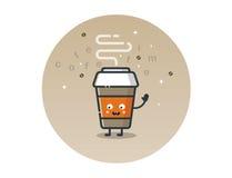 Vector grappig het beeldverhaalkarakter van de koffiekop stock afbeelding