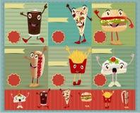 Vector grappig het beeldverhaalkarakter van het snel voedselmenu Stock Foto