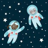 Vector grappige astronautenkat en hond in ruimte met planeten en sterren royalty-vrije illustratie
