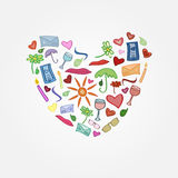 Vector grappige liefdeprentbriefkaar royalty-vrije illustratie