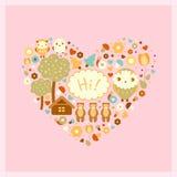 Vector grappige roze kaart Stock Foto