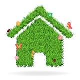Vector grass home icon concept Stock Photos
