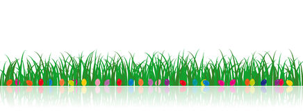 Vector Grass Illustration with easter eggs Royalty Free Stock Photos