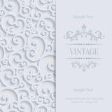 Vector graue Einladungs-Karte der Weinlese-3d mit Blumendamast-Muster Stockfotografie