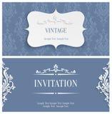 Vector graue Einladungs-Karte der Weinlese-3d mit Blumendamast-Muster Lizenzfreies Stockbild