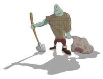 Vector gravedigger with shovel and sack stock illustration