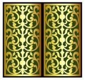 Vector a gravura do logotipo do quadro da beira do vintage com teste padrão retro do ornamento no projeto decorativo do estilo an Imagem de Stock