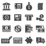 Vector gray bank icons set. On white background Stock Photo