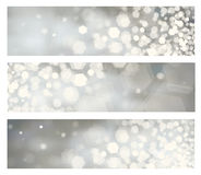 Vector  gray bokeh banners. Stock Photo