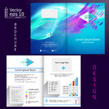 Vector gray brochure template design with blue elements. EPS 10.  Royalty Free Stock Photo
