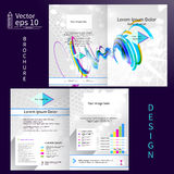 Vector gray brochure template design with blue elements. EPS 10.  Royalty Free Stock Images