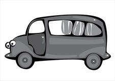 Vector gray cartoon hearse isolated on white Royalty Free Stock Photo