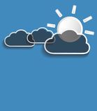 Vector gray clouds with sun Stock Photography