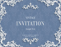 Vector Gray 3d Vintage Invitation Card with Floral Damask Pattern Stock Photography