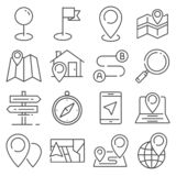 Vector Gray Navigation and Map line icons royalty free stock photography