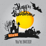 Vector gray Night Halloween Poster invitation with Royalty Free Stock Image